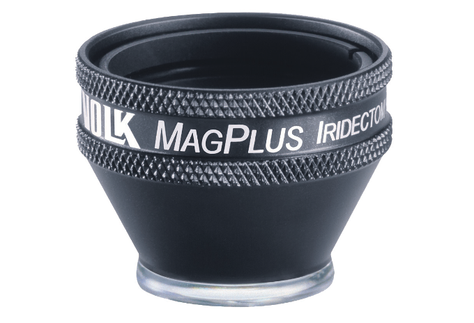 Volk MagPlus Iridectomie Kontaktglas - schwarz/ individuelle Gravur möglich