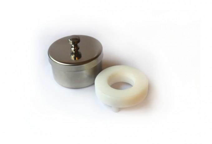 Runde Instrumentenschale mit Einsatz für Kontaktglas, 7cm Ø x 4cm