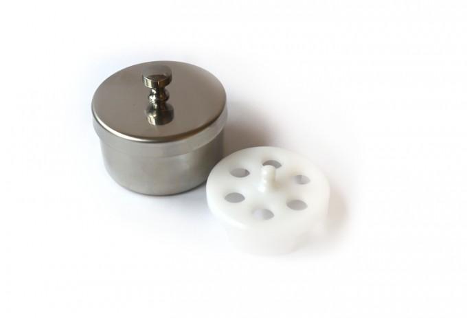 Runde Instrumentenschale mit Einsatz für Tonometermessprismen, 7cm Ø x 4cm